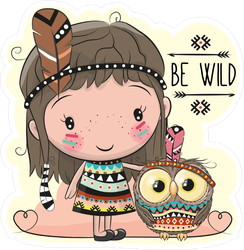 Tribal Girl And Owl Hippie Boho Sticker