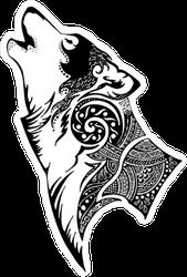 Tribal Howling Wolf Sticker