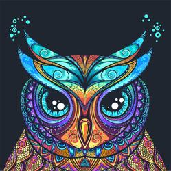 Tribal Ornament Owl Sticker