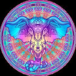 Tribal Style Elephant Over Mandala Sticker
