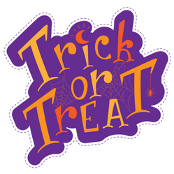 Trick or Treat Purple Sticker