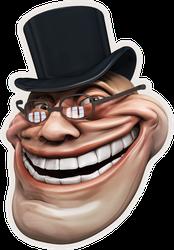Trollface Meme In Top Hat Sticker