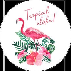 Tropical Aloha Hibiscus and Flamingo Sticker