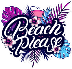 Tropical Beach Please Lettering With Palm Leaves Sticker