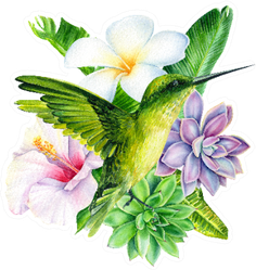 Tropical Composition Of Plumeria Flower And Others Sticker