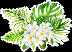 Tropical Flowers, Palm Leaves, Plumeria Sticker