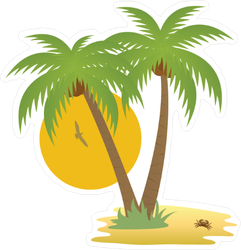 Tropical Palm Tree Island Sticker