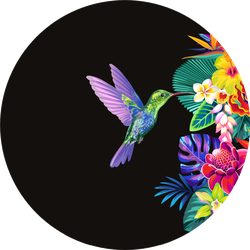 Tropical Seamless Border With Palm Leaves And Hummingbirds Sticker
