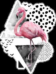 Tropical Summer Geometric Flamingo Poster Sticker