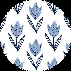 Tulip Flowers In Scandinavian Style Blue Sticker