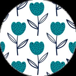 Tulip Flowers In Scandinavian Style Turquoise Sticker