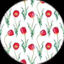 Tulip Flowers Watercolor Seamless Pattern Sticker