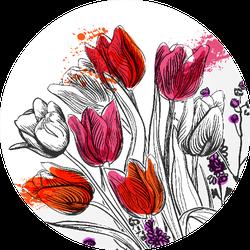 Tulips Illustration Circle Sticker