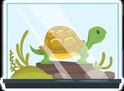 Turtle in glass Tank Sticker