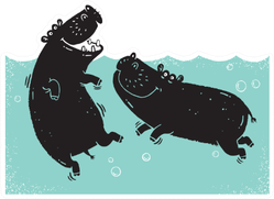 Two African Hippos Wallowing In A River Pool Sticker