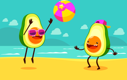 Two Avocados Playing At The Beach Sticker