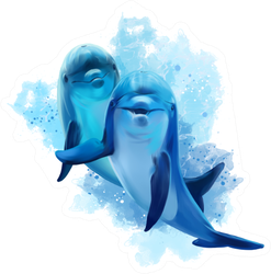 Two Blue Dolphins Watercolor Illustration Sticker