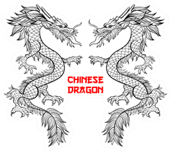 Two Chinese Dragons Hand Drawn Sticker