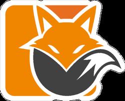 Two Color Fox Logo Design Sticker