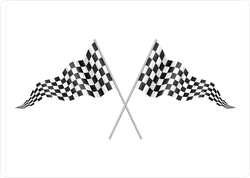 Two Crossed Racing Checkered Flags Sticker