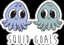 "Two Cute Cartoon Baby Squids ""Squid Goals"" Sticker"