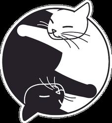Two Cute Sleeping Cats Yin & Yang Sticker