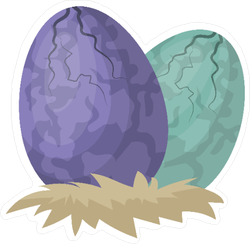 Two Dinosaur Eggs Hatching Sticker