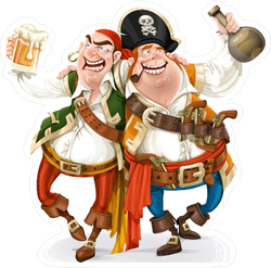 Two Drunk Pirates Sticker