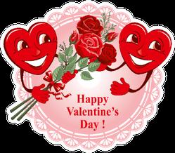 Two Happy Lovers Heart On Lace Sticker