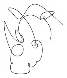 Two-horned Rhinoceros Continuos Line Sticker