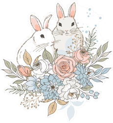 Two Little Rabbits And Bouquet Of Flowers Sticker