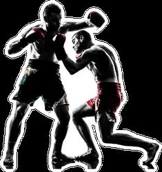 Two Men Exercising Thai Boxing In Silhouette Sticker