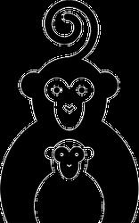 Two Monkeys Silhouette Sticker