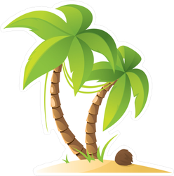 Two Palm Trees On The Beach Sticker