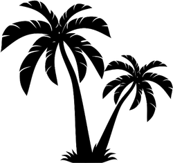Two Palm Trees Silhouette Sticker