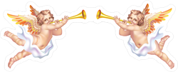 Two Trumpeting Cherubs Sticker