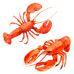 Two Watercolor Lobsters Sticker