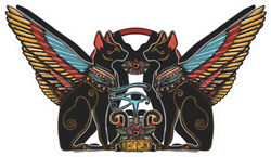 Two Winged Black Cats, Sacred Eye Of God Horus And Star Gate Sticker