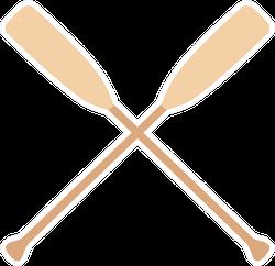 Two Wooden Crossed Oars Rowing Sticker