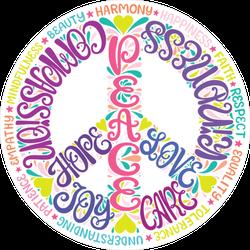 Typographic Peace Sign Sticker