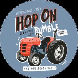 Typography Slogan With Cartoon Tractor Illustration Sticker