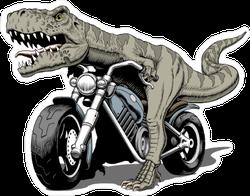 Tyrannosaurus Rex Riding A Classic Chopper Sticker