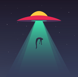 UFO Abducting Human Sticker