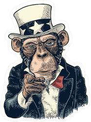 Uncle Sam Monkey Sticker