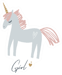 Unicorn Boho Style Girl Lettering Sticker