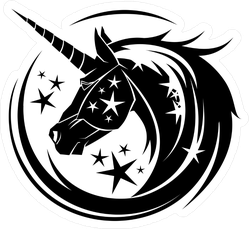 Unicorn Head Circle Tattoo Illustration With Stars Sticker