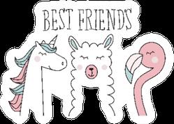 Unicorn, Llama And Flamingo, Best Friend Illustration Sticker