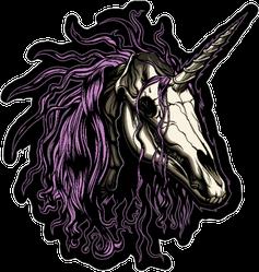 Unicorn Skull With Pink Mane Sticker