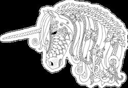 Unicorn Zentangle Fairy Tale Sticker