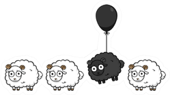 Unique Sheep Black Sheep Balloon Sticker
